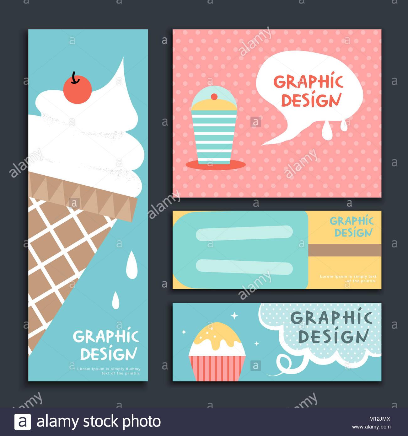 Adorable banner diseño de plantilla con helado set Foto & Imagen De ...