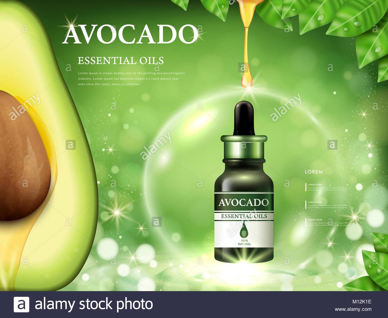 Aceite esencial de aguacate anuncios, Anatomía de fruta en el lado ...