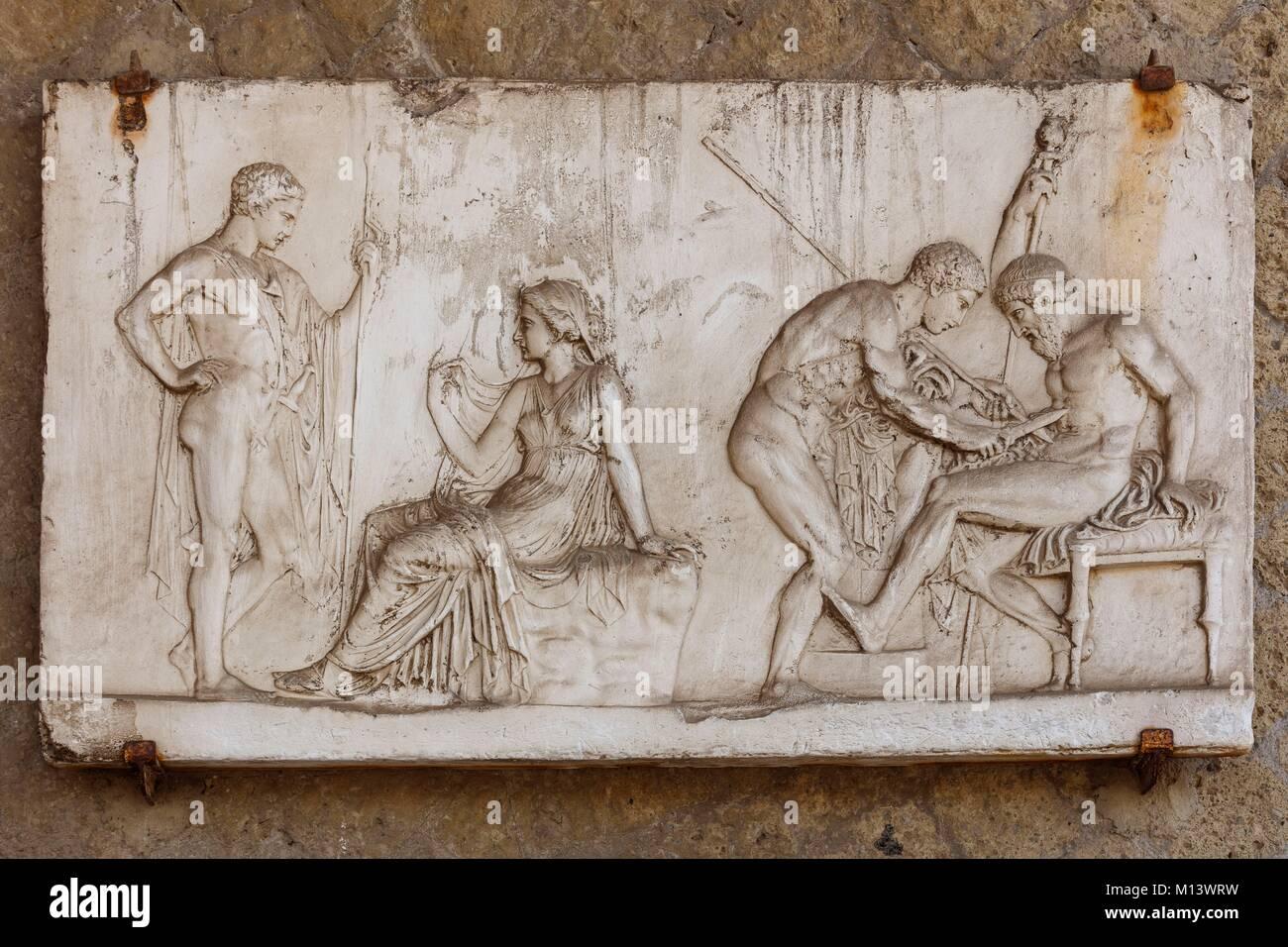 Italia, Campania, Herculanum, catalogada como Patrimonio de la Humanidad por la UNESCO, bajorrelieve Imagen De Stock