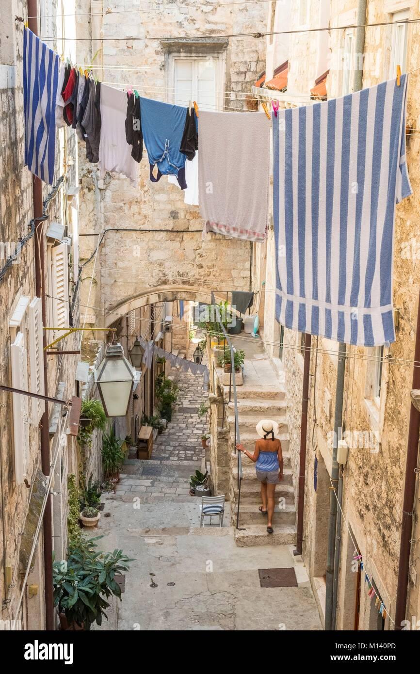 Croacia, Dalmacia Central, la costa dálmata, Dubrovnik, centro histórico catalogado como Patrimonio de Imagen De Stock