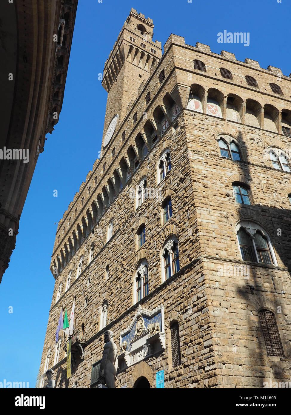 Europa, Italia, Toscana, Florencia, Piazza della Signoria. Palazzo Vecchio Imagen De Stock