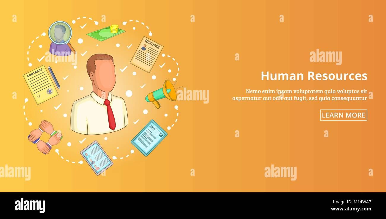Recursos Humanos Banner Horizontal Estilo De Dibujos Animados