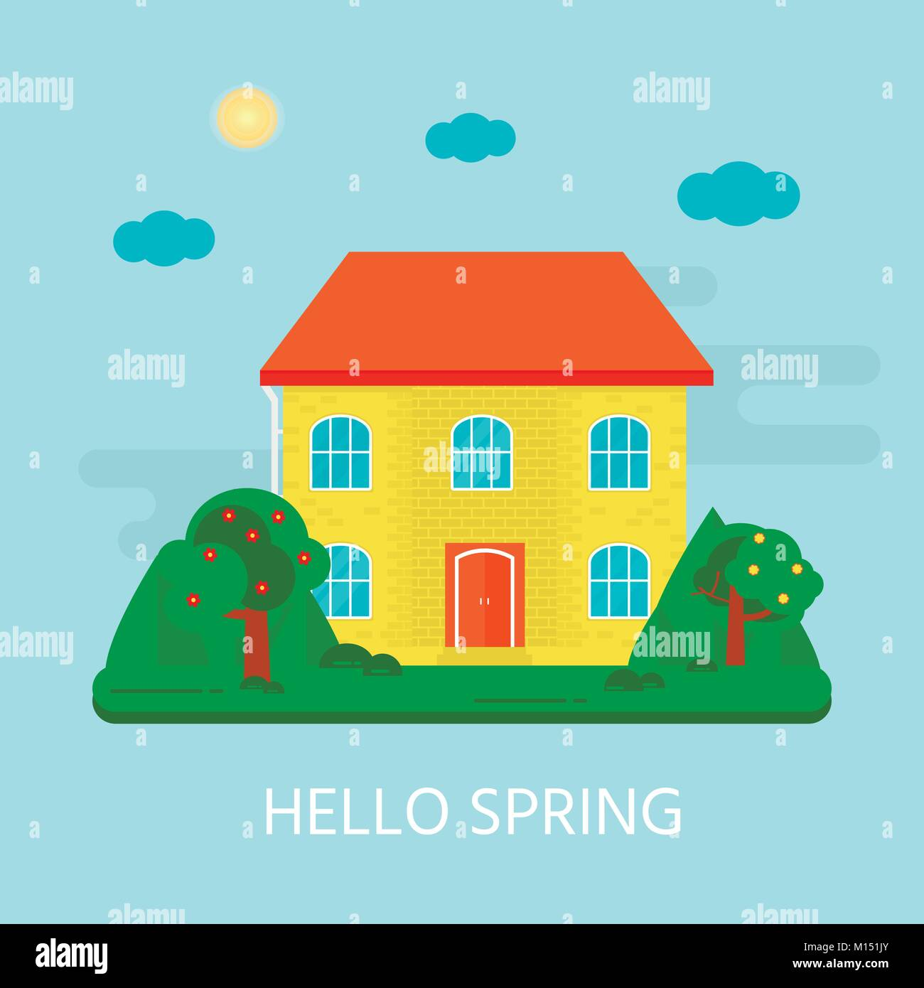 Resumen antecedentes con acogedora casa, casa, chalet, con texto ...