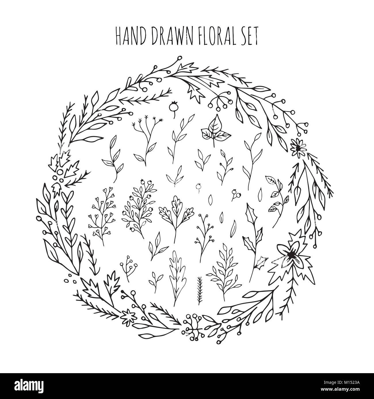 9700e7735c66d Colección de vectores dibujados a mano arreglos florales y ramas con hojas