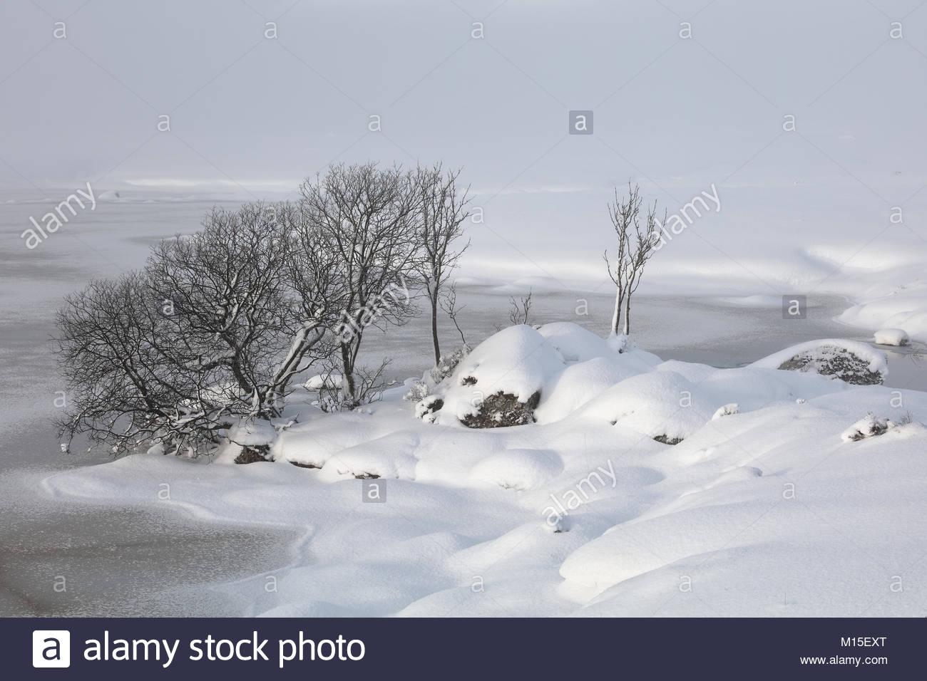 Una cubierta de nieve Rannoch Moor mirando a través de un congelado Lochan na h-achlaise Foto de stock