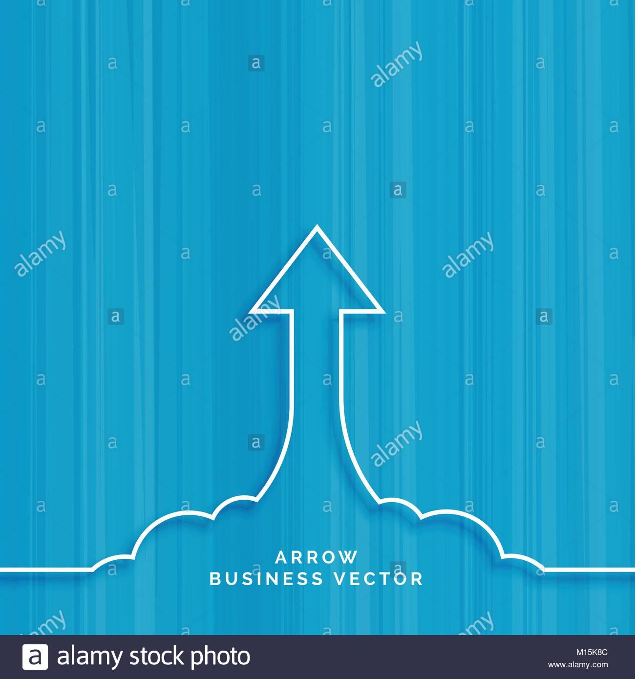 Fondo azul con la línea flecha se mueve hacia arriba. Imagen De Stock