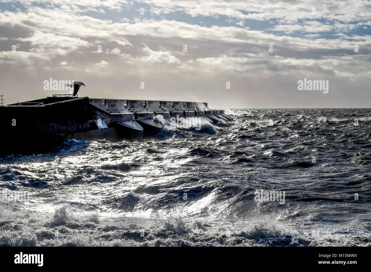 Tormentoso mar rompiendo contra el Brighton marina puerto negro muro, spray y olas altas en el aire, mar agitado Imagen De Stock