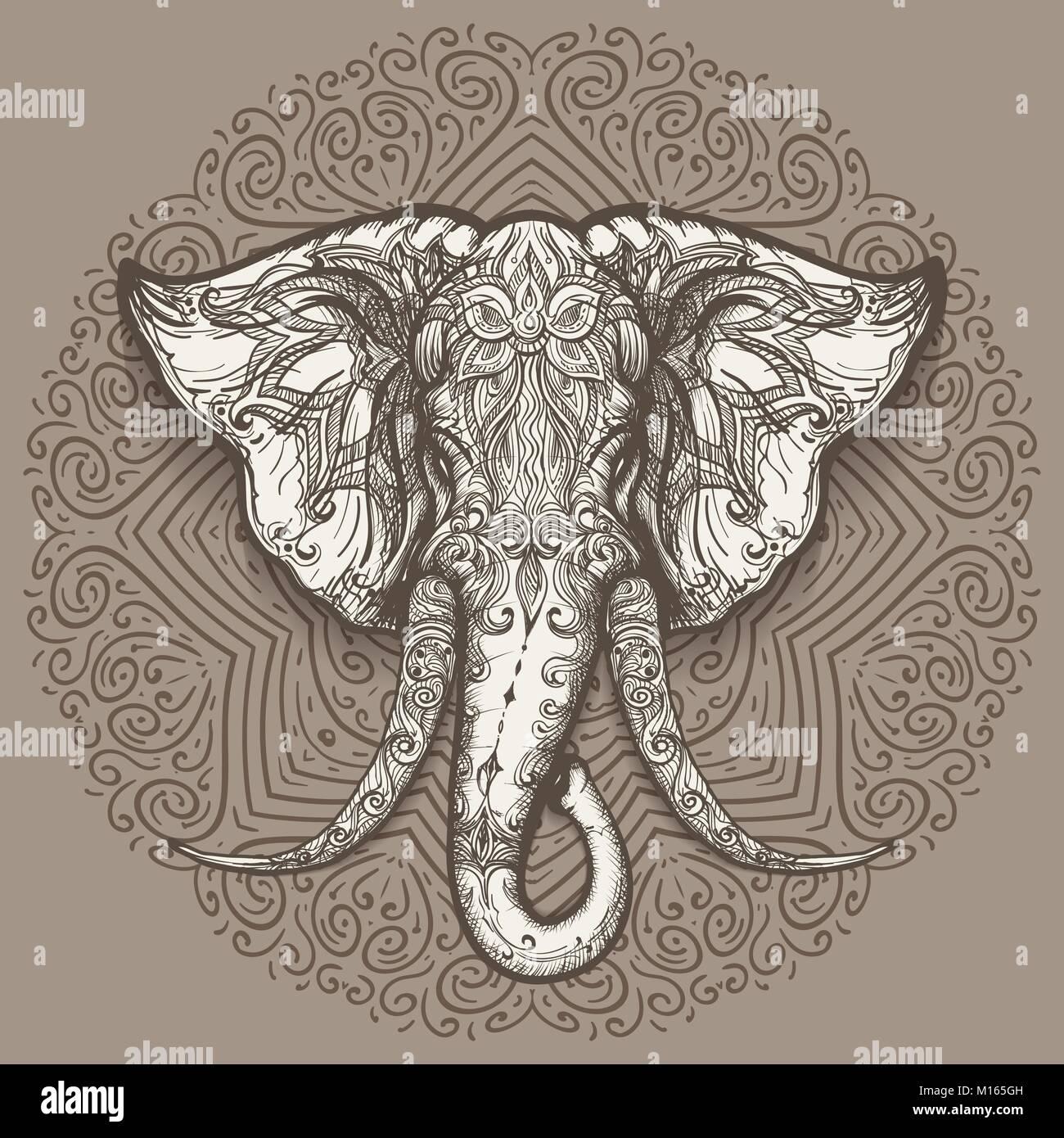 bc970fef8fbff Cabeza de elefante estilizado arte el mandala de fondo. Ilustración  vectorial. Imagen De Stock