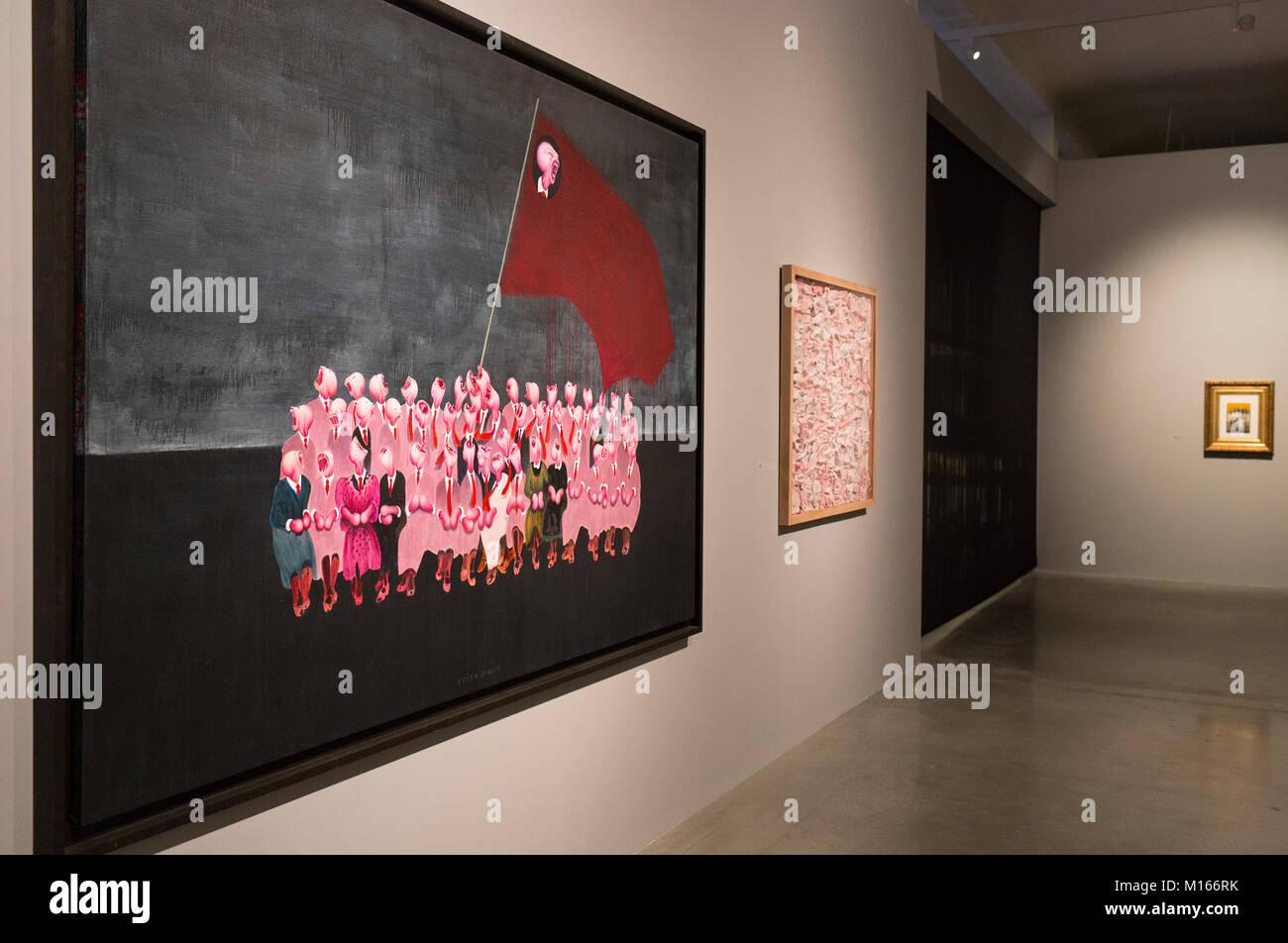 Pulse vista previa determinación de la exposición de arte de artista multimedia Daniel Pesta a Centro de Arte Contemporáneo Foto de stock