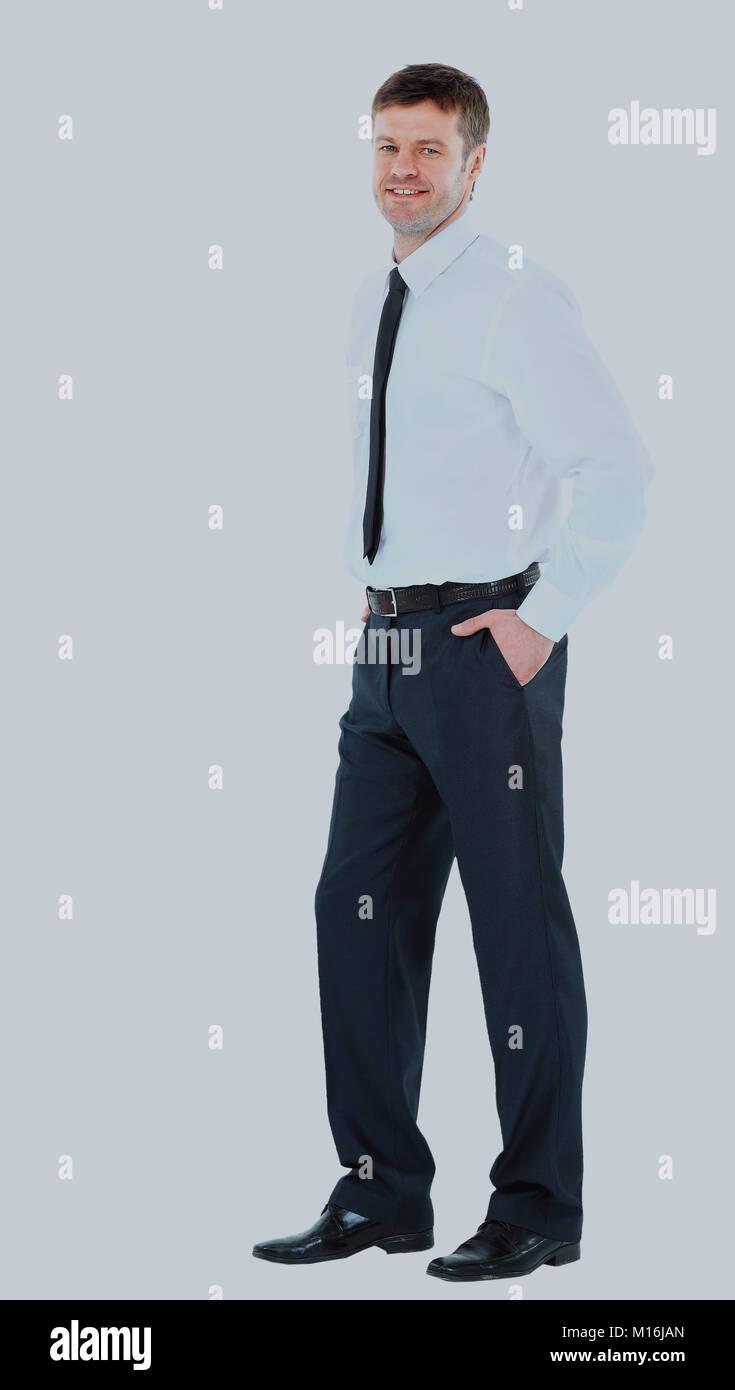 6884bdc79d Retrato de cuerpo entero de feliz sonriente joven hombre de negocios