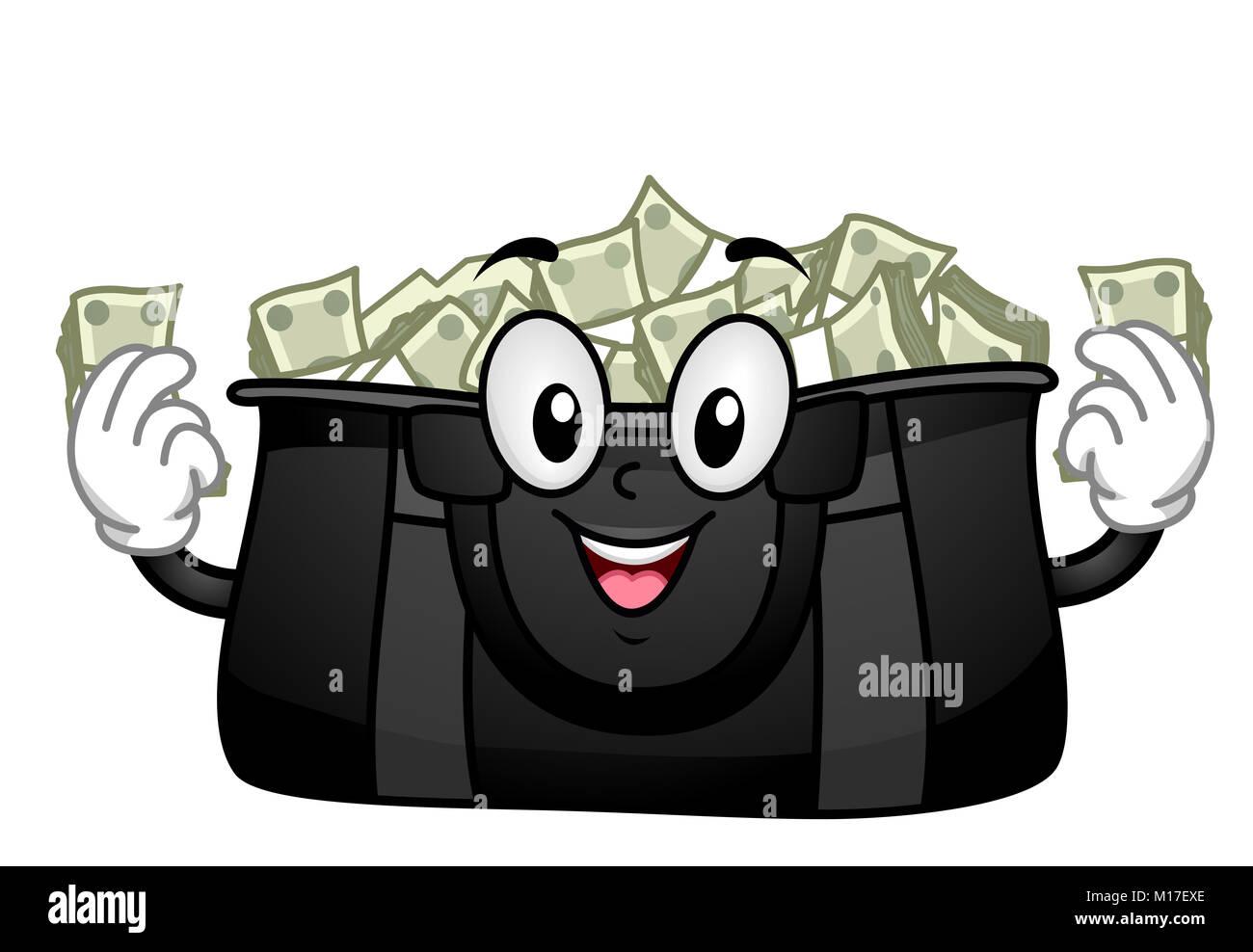 Ilustración de una mascota bolsón lleno de dinero Imagen De Stock