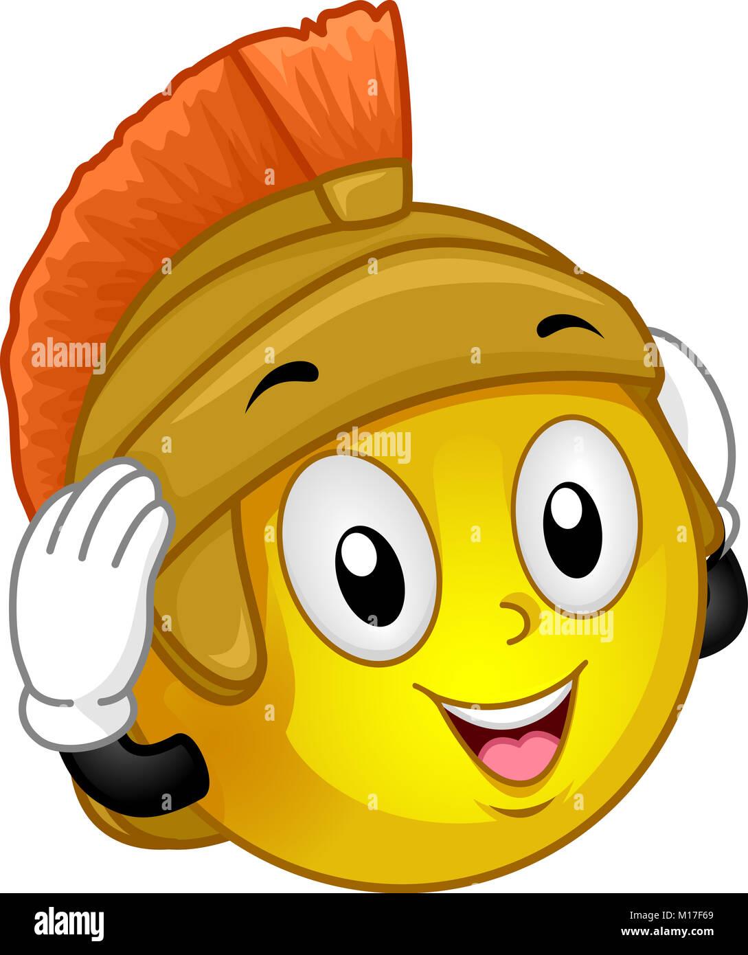 Ilustración de una mascota sonriente vistiendo un soldado romano tocado  Imagen De Stock 69ab2976278