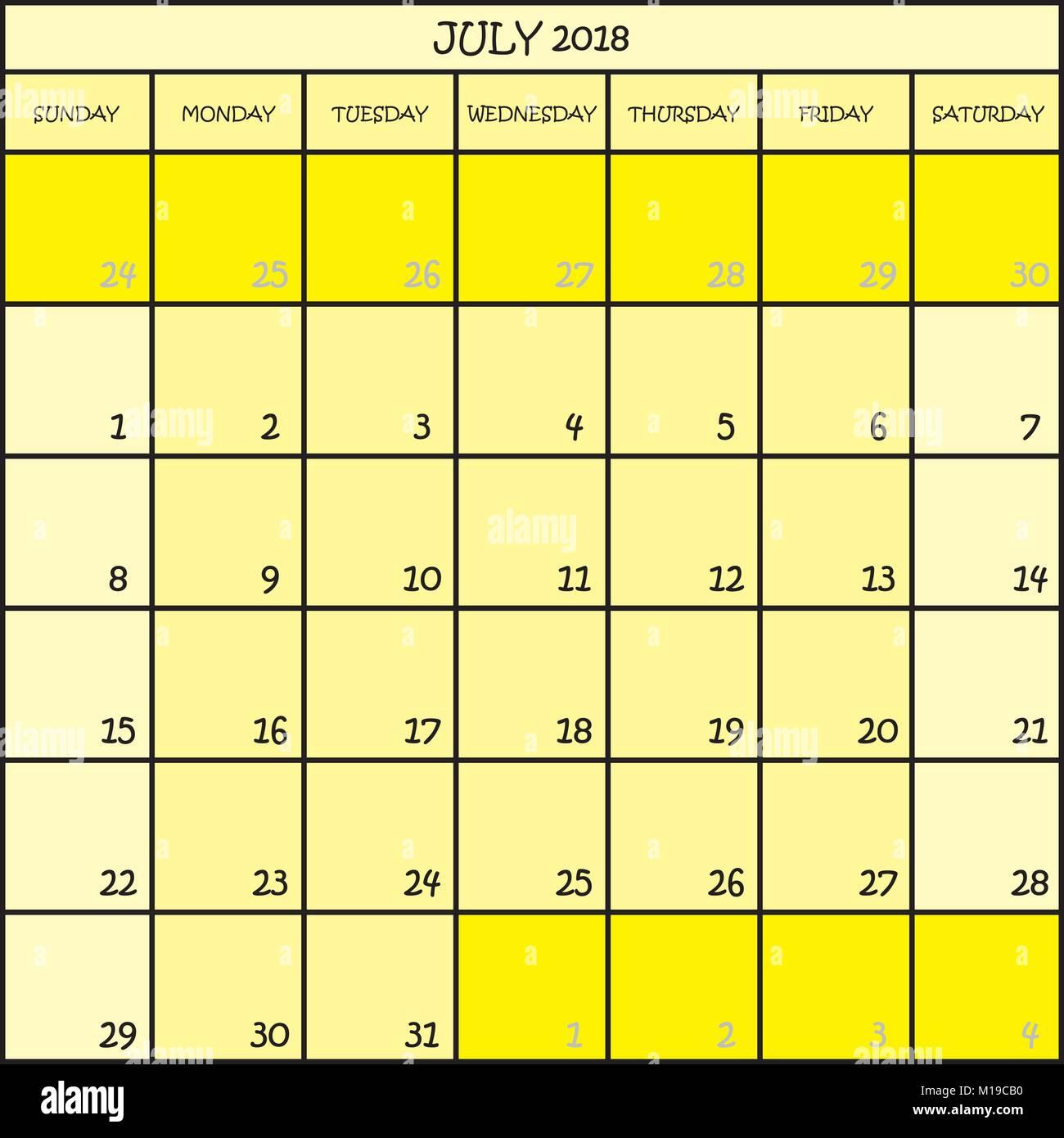 Calendario Mes De Julio.Planificador De Calendario Mes De Julio De 2018 En Tres Tonalidades