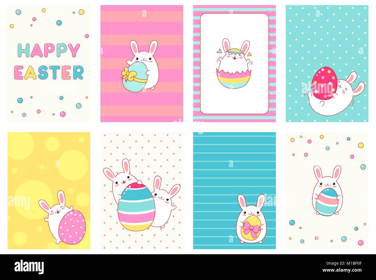 Colección de Pascua banner, antecedentes, flyer, cartel con lindos ...