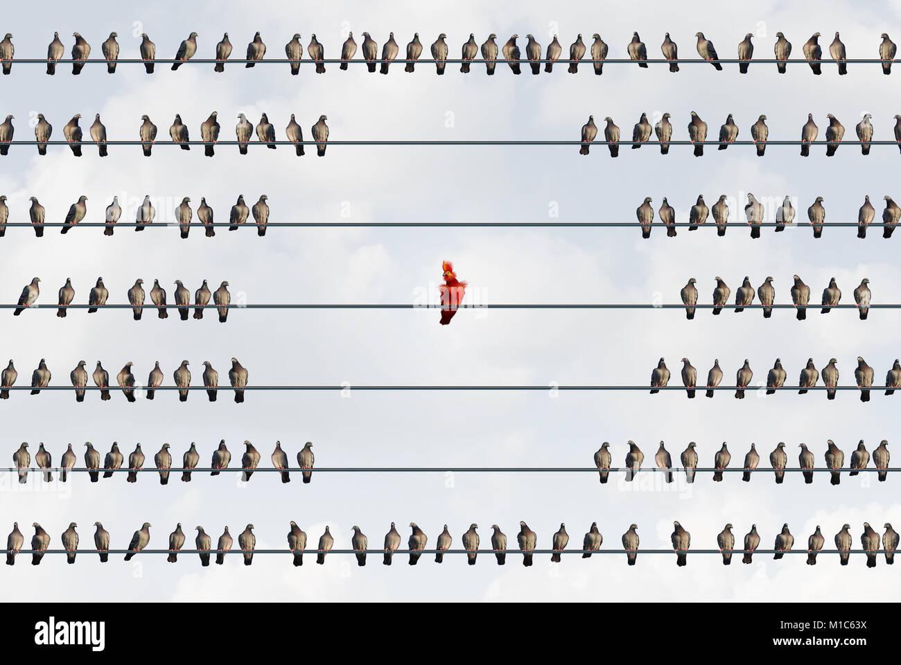 Outcast concepto como una extravagante colorido pájaro rojo ser rechazado y rechazados por la sociedad como Imagen De Stock
