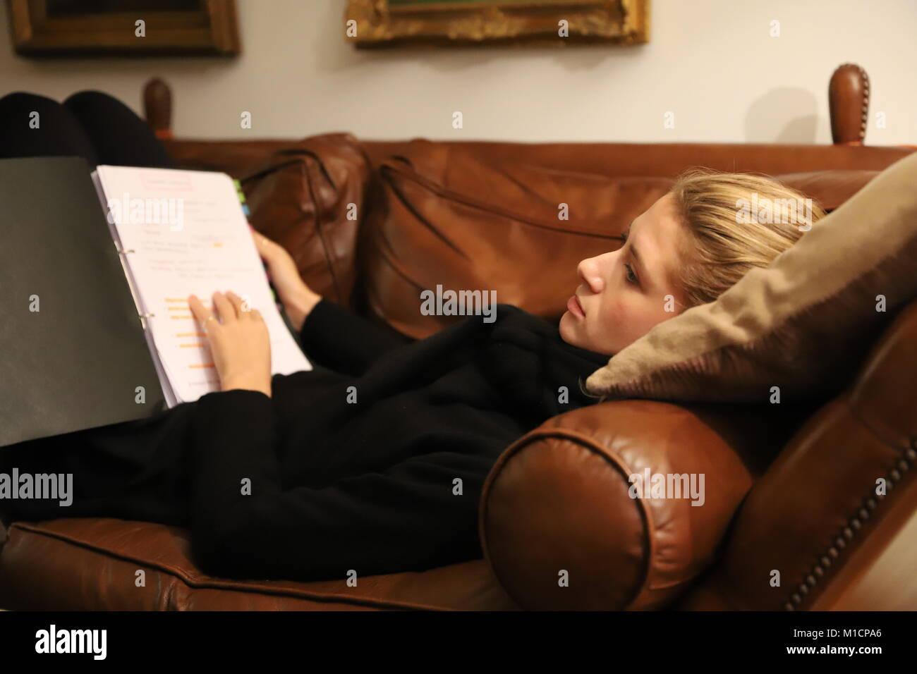 Joven estudiante de derecho estudios en la casa de sus abuelos. Imagen De Stock