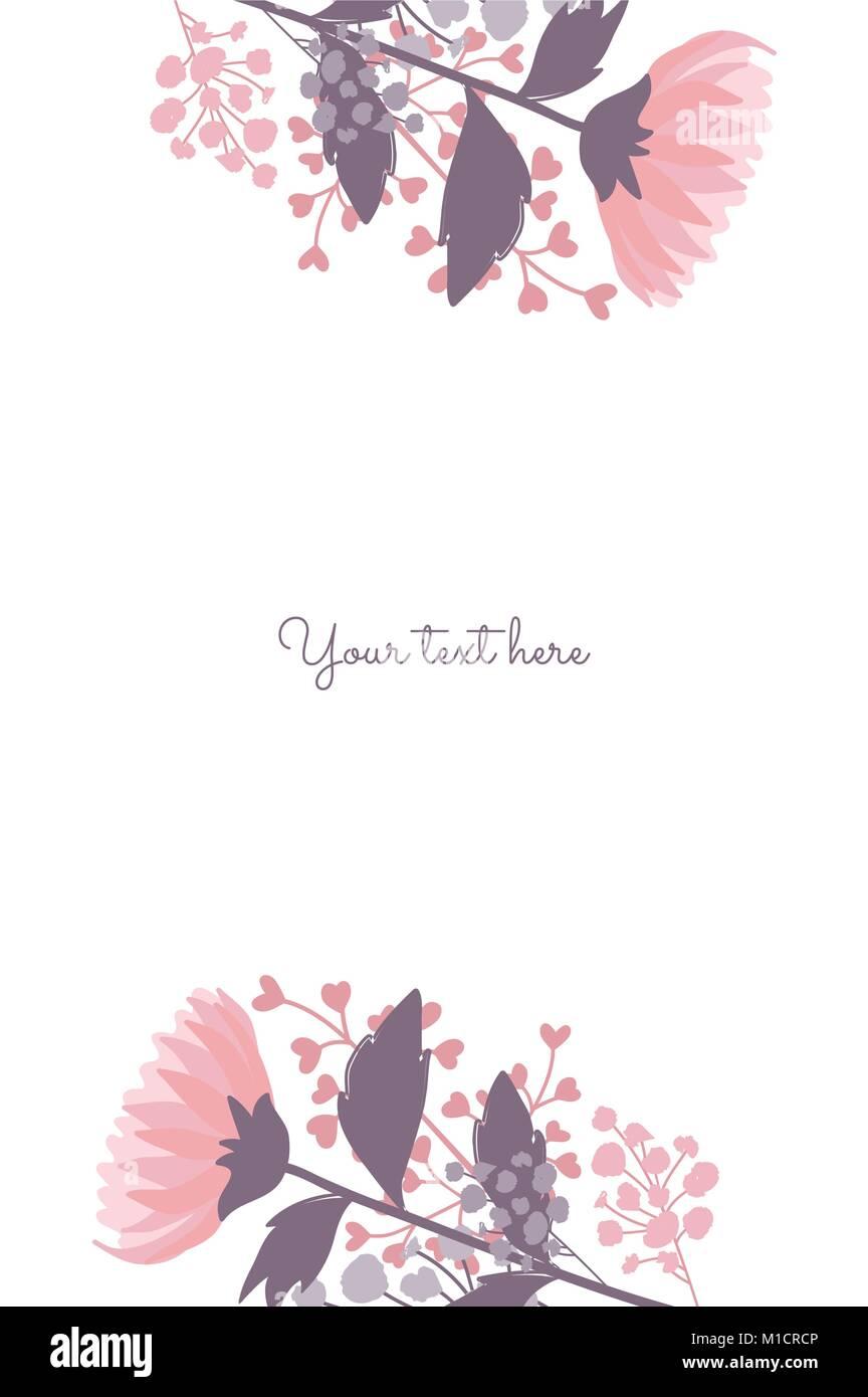 Elegante marco flores vector Plantilla de tarjeta Ilustración del ...