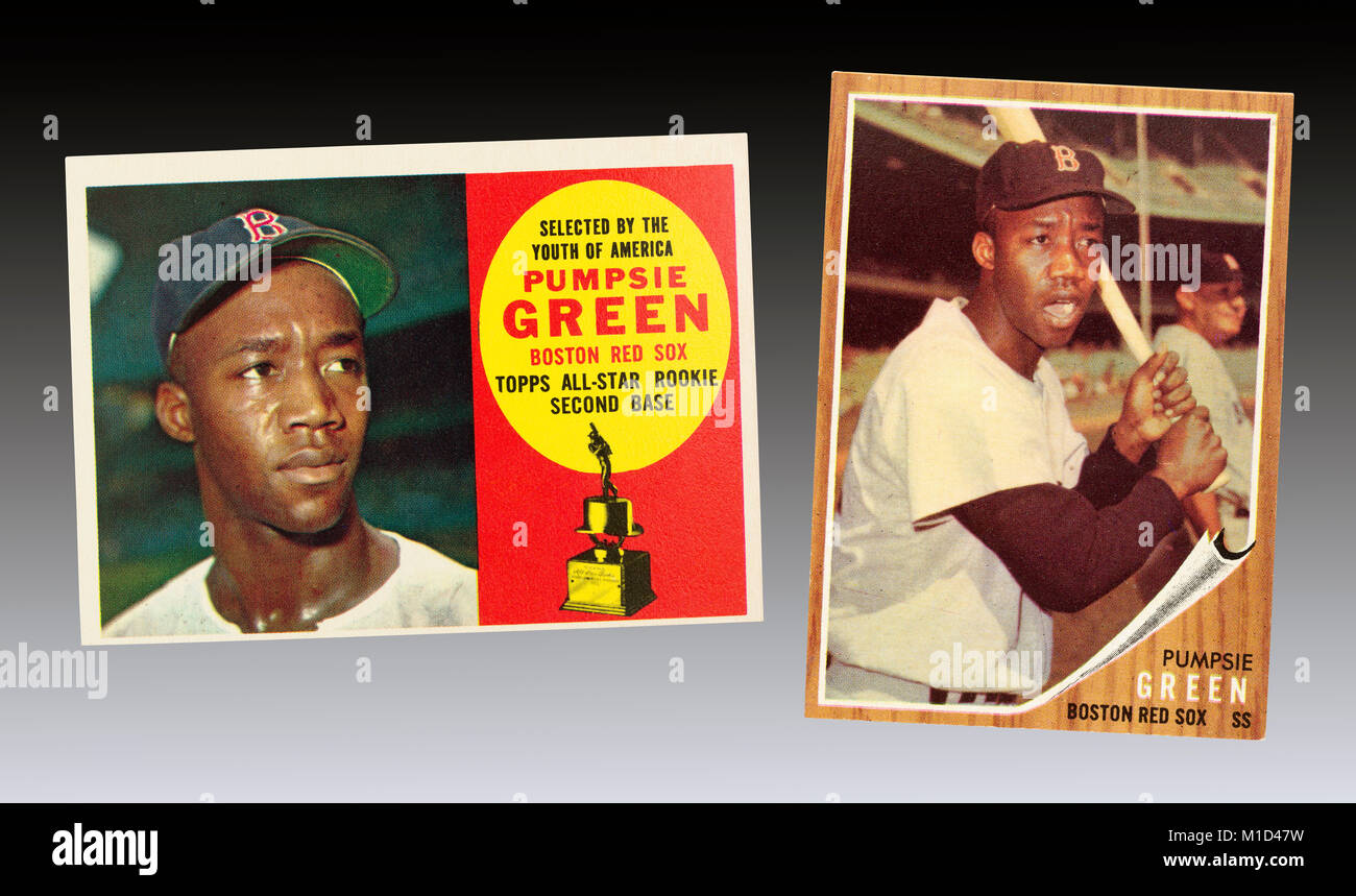 En 1959 Pumpsie Green fue el primer jugador de béisbol afroamericano para jugar con los Boston Red Sox, la última Foto de stock