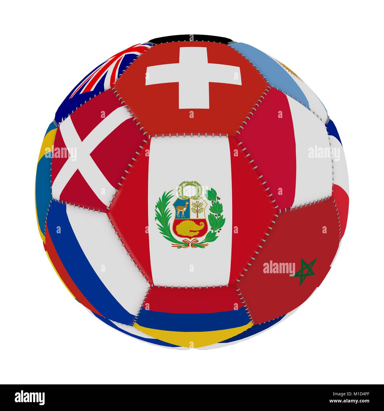 Balón de fútbol con el color de las banderas de los países participantes en  el mundo f11dd13b18e89