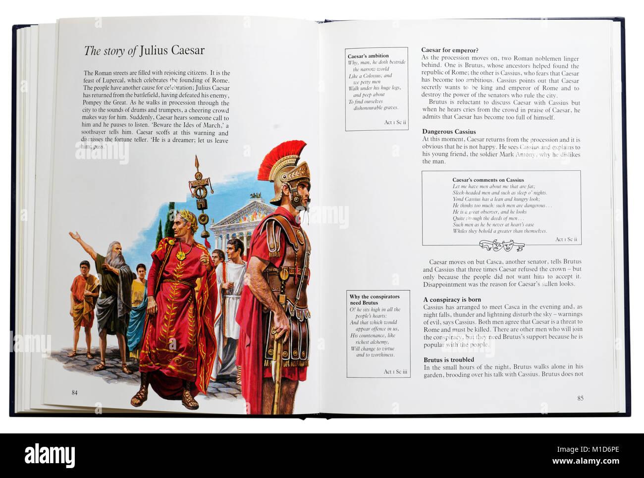 Un libro ilustrado de las obras de Shakespeare abierta en una parcela resumen de Julio César Imagen De Stock