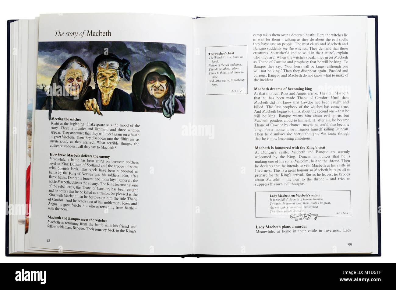 Un libro ilustrado de las obras de Shakespeare abierta en una parcela resumen de Macbeth Imagen De Stock