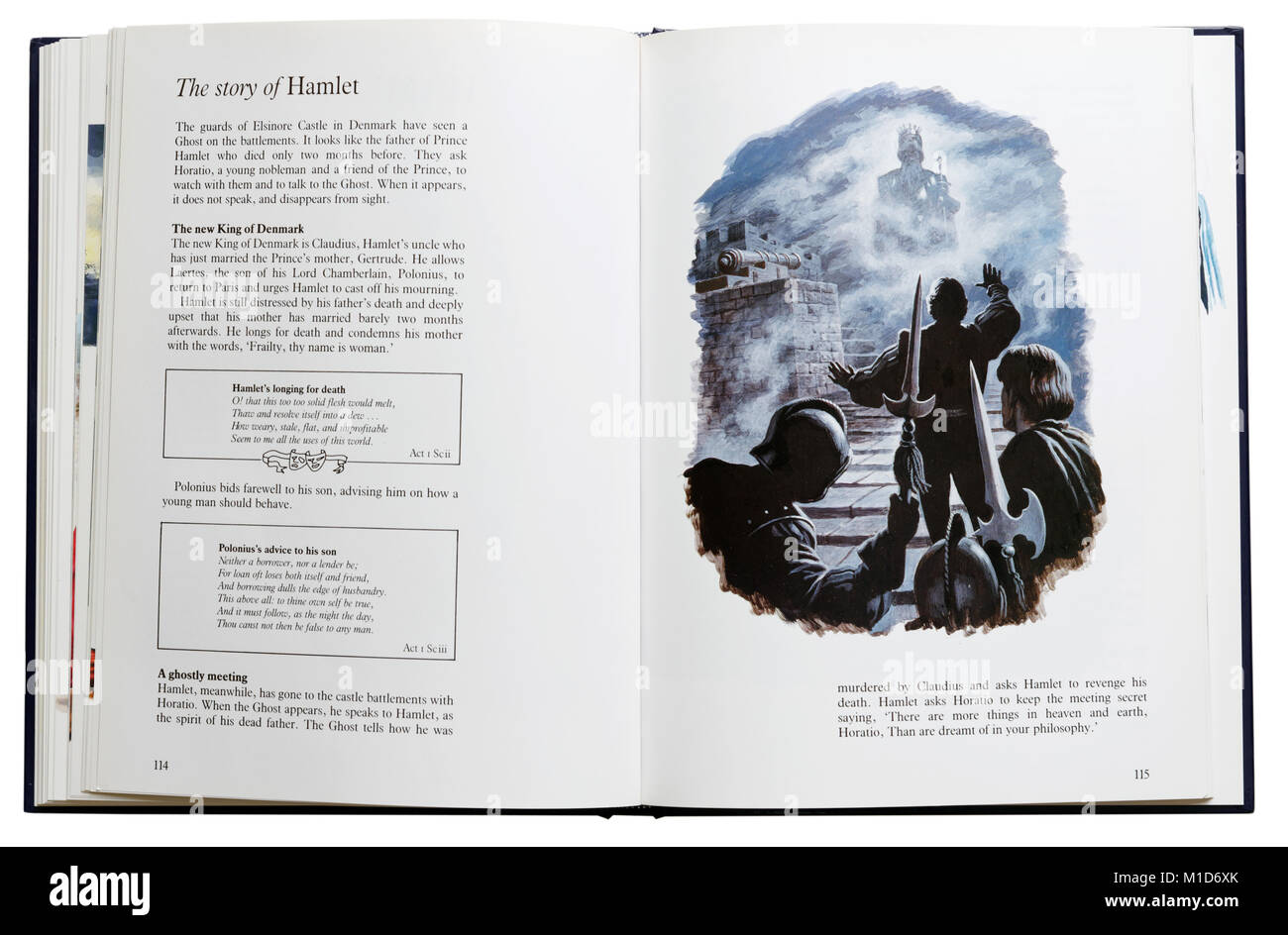 Un libro ilustrado de las obras de Shakespeare abierta en una parcela resumen de Hamlet Imagen De Stock
