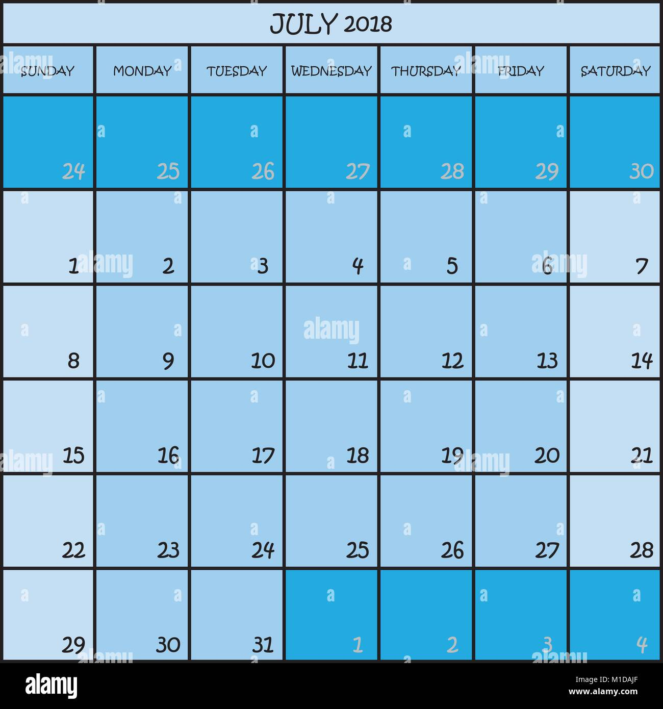 Calendario Mes De Julio.Planificador De Calendario Mes De Julio De 2018 En Tres Tonos De