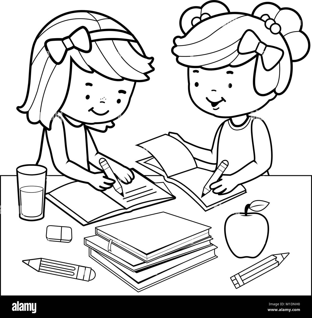 Los Estudiantes Haciendo Los Deberes Libro Para Colorear De Blanco