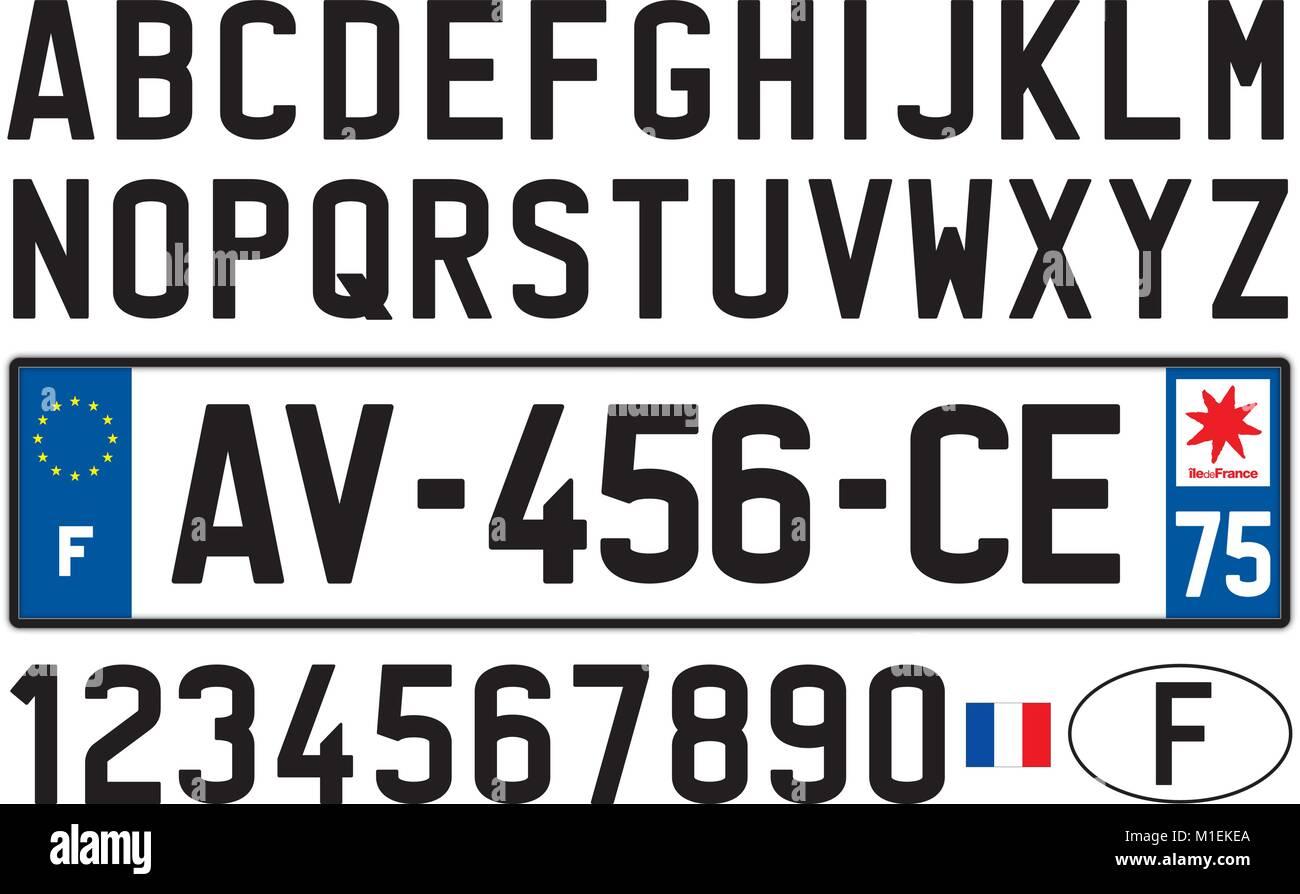 Francia alquiler de placa, letras, números y símbolos Imagen De Stock