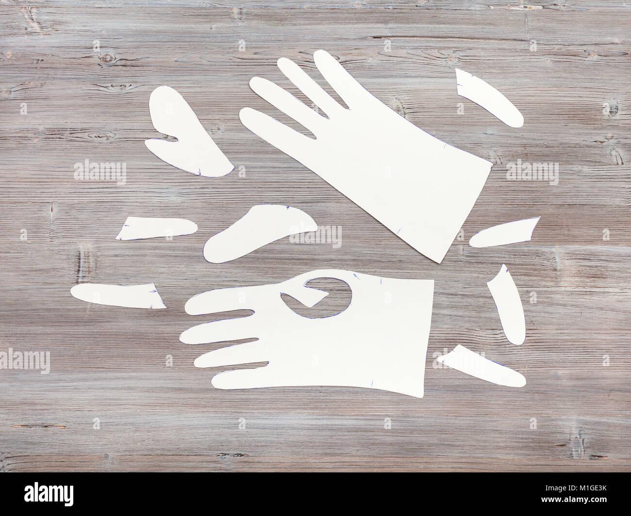Taller de costura guantes - Vista superior de papel patrones de ...