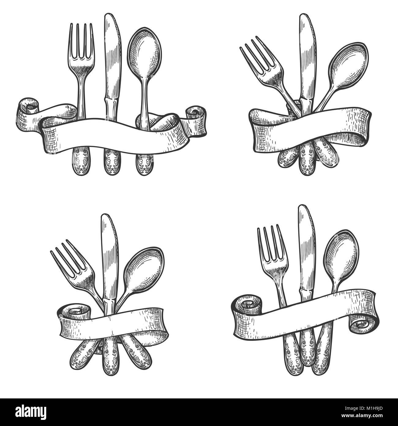 Cuberter a de boceto vintage mesa cubiertos con cuchillo for Tenedor y cuchillo en la mesa