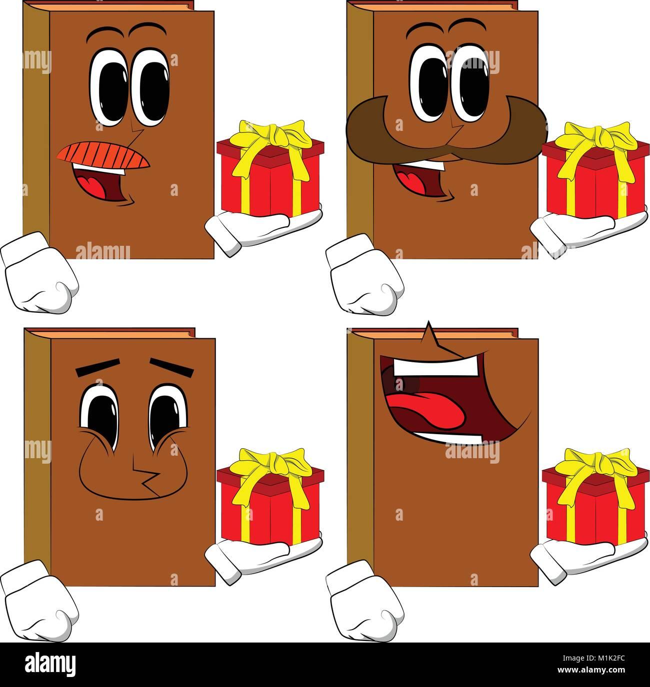 Libros sosteniendo la pequeña caja de regalo. Colección de libros de dibujos  animados con caras d336e541728c