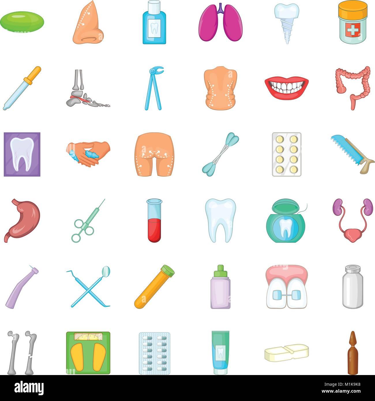 Las Cuestiones De Salud Conjunto De Iconos De Estilo De