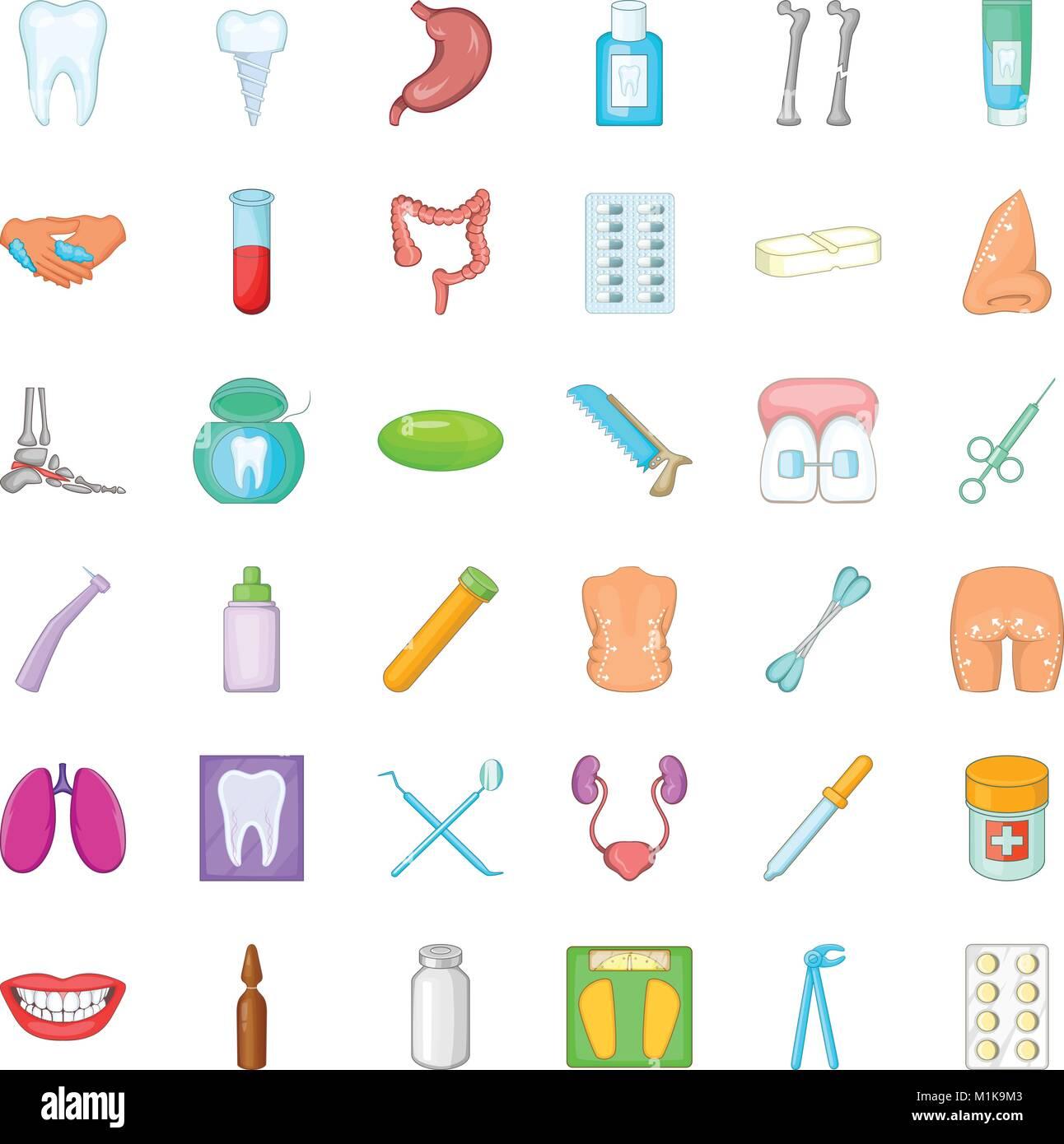 Cuestión De Iconos De Salud Estilo De Dibujos Animados