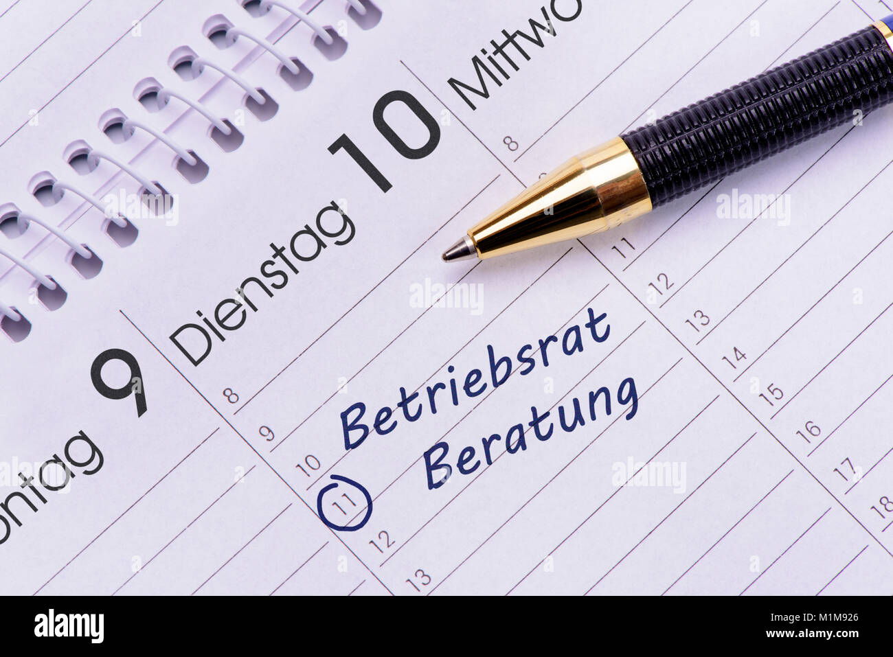Termin für Beratung bei Betriebsrat im Kalender Imagen De Stock