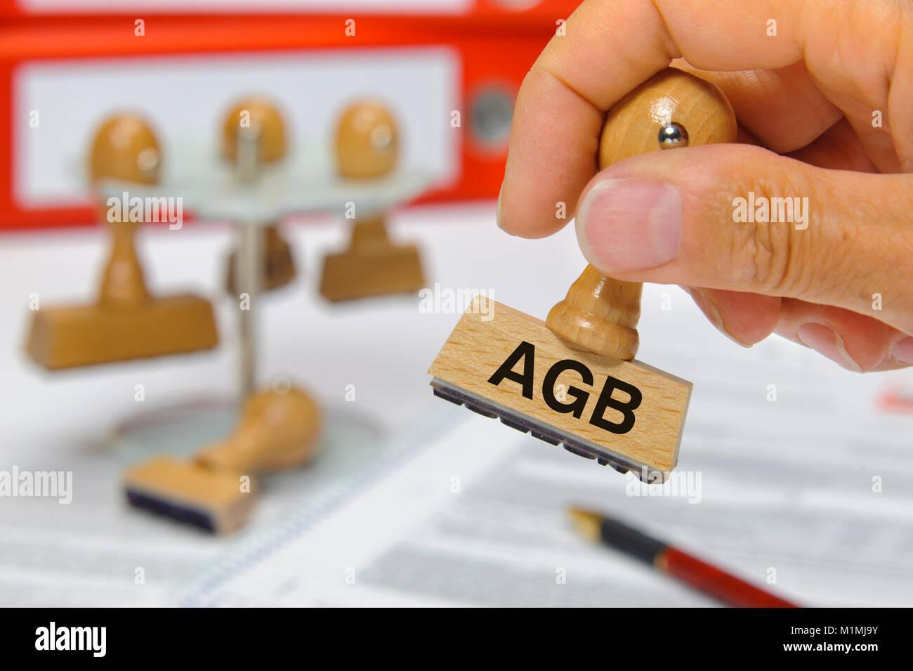 Stempel en mano beschriftet mit AGB Imagen De Stock