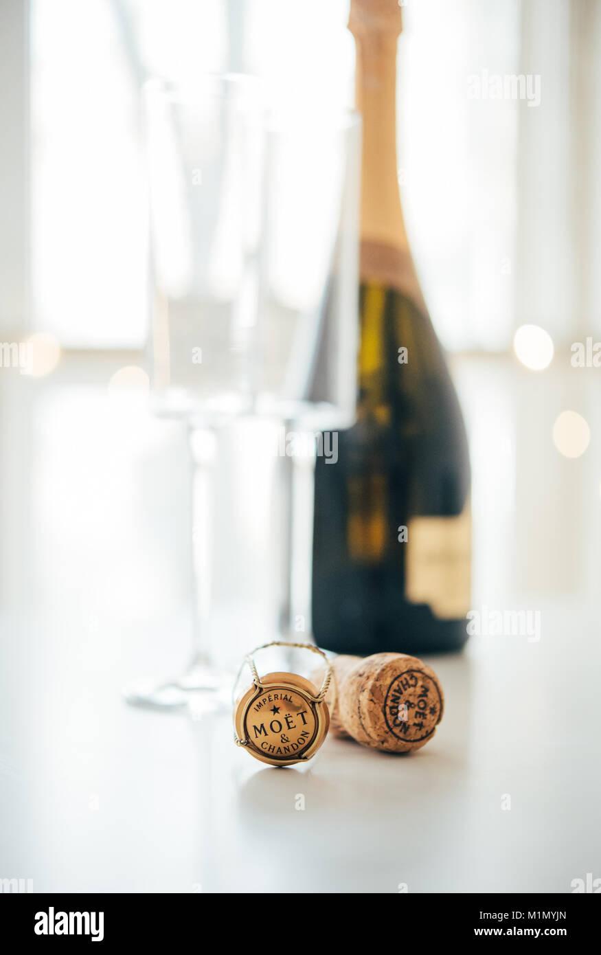 Odesa, Ucrania - 30 de Enero 2018: Moet & Chandon Champagne cork Foto de stock