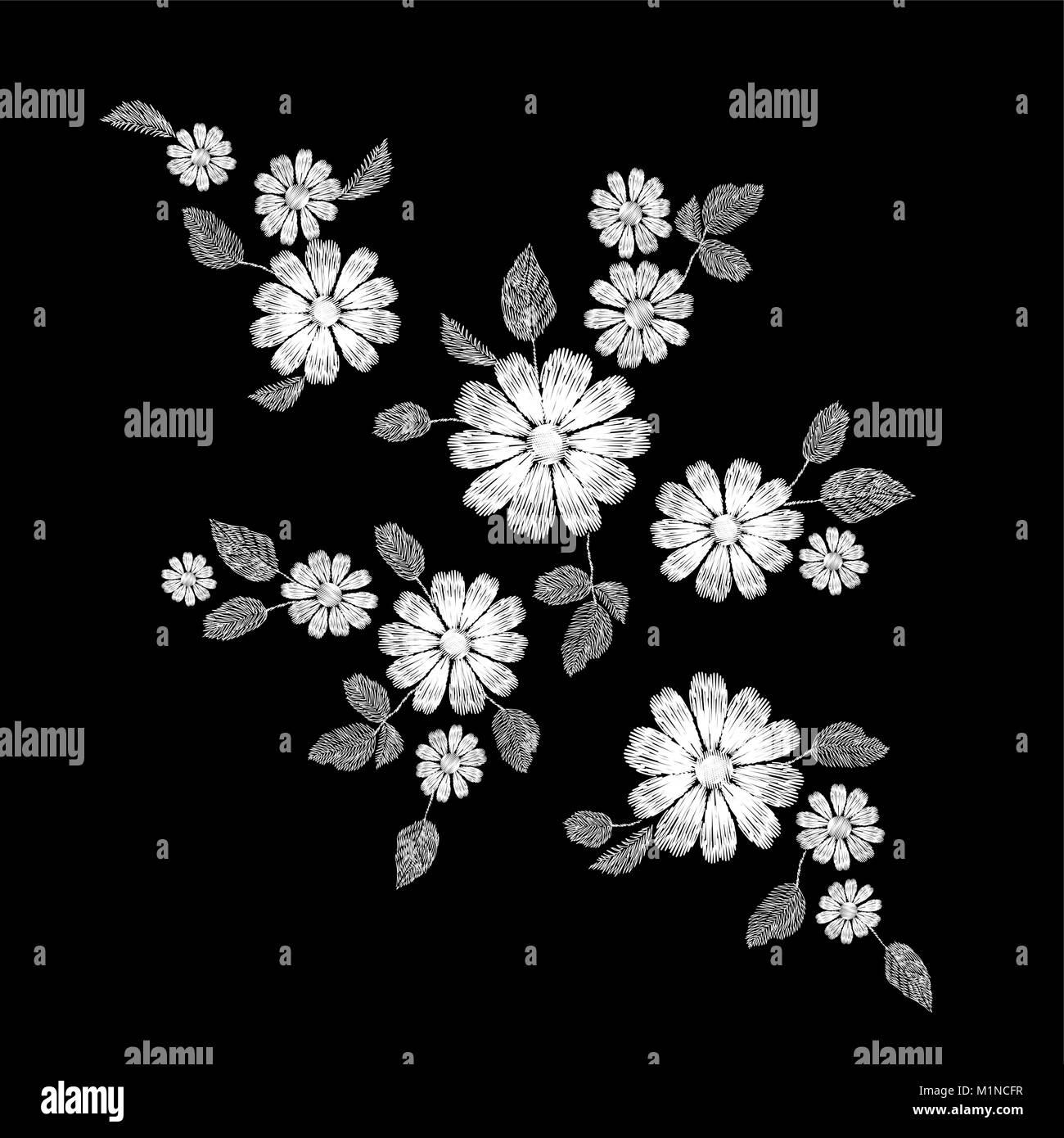ee118dd0f Encaje blanco bordado floral parche. Decoración de moda cosidos plantilla  de textura. Campo margarita tradicional étnica hojas de plantas textiles ...