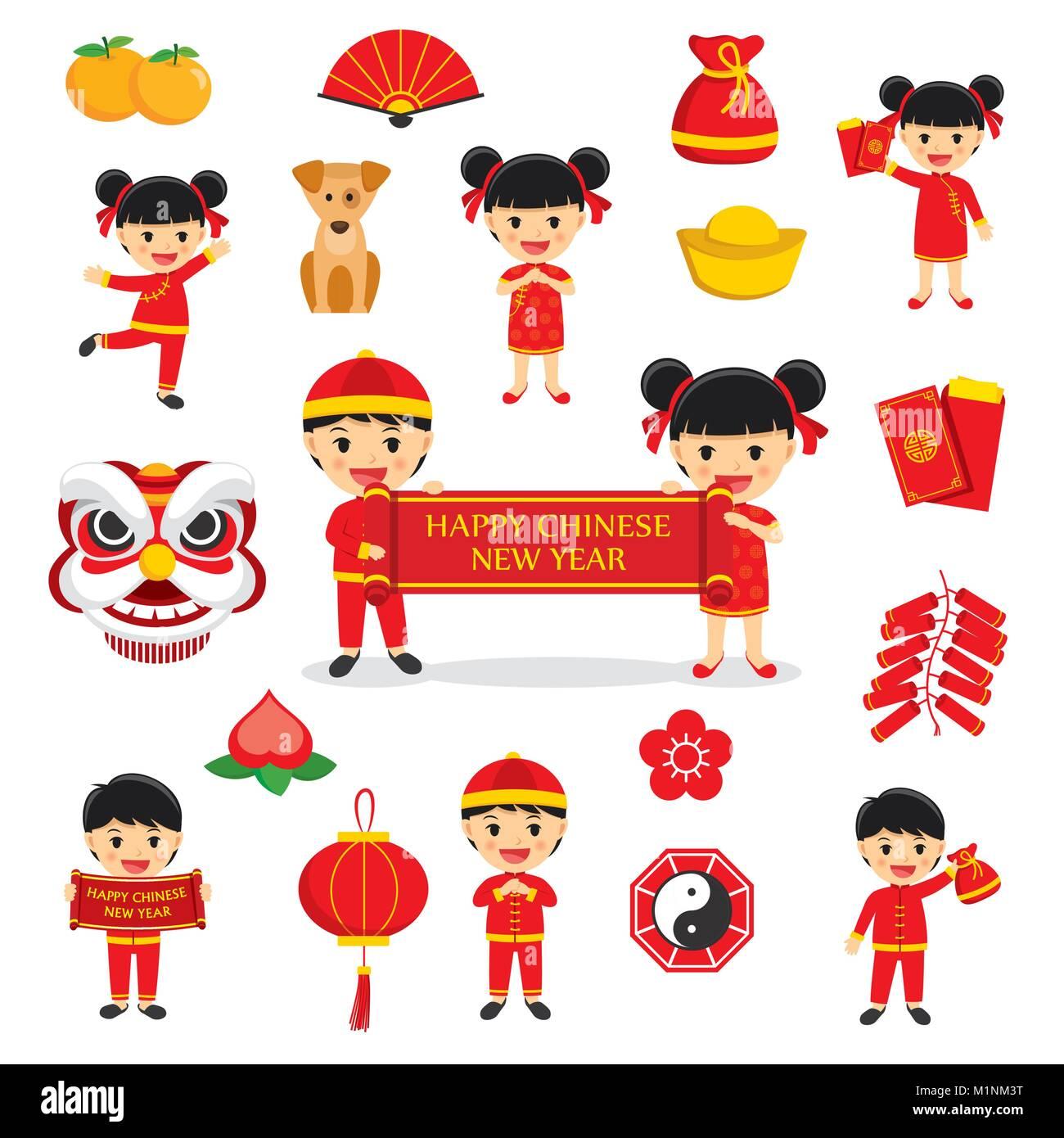 Feliz Año Nuevo Chino Decoración Tradicional Con Caracteres