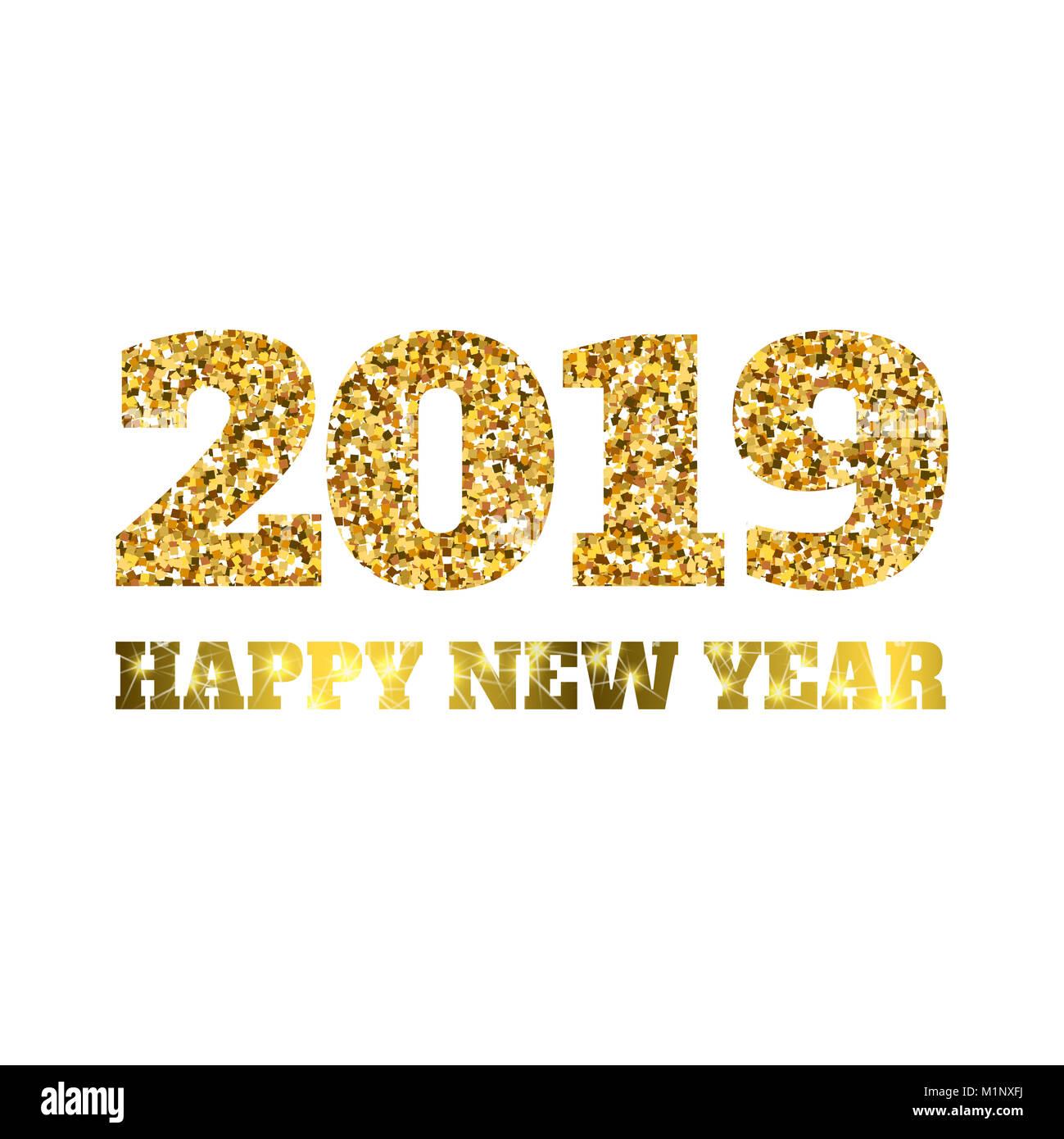 Feliz Año Nuevo 2019 Glitter Particulas De Oro Y Brilla