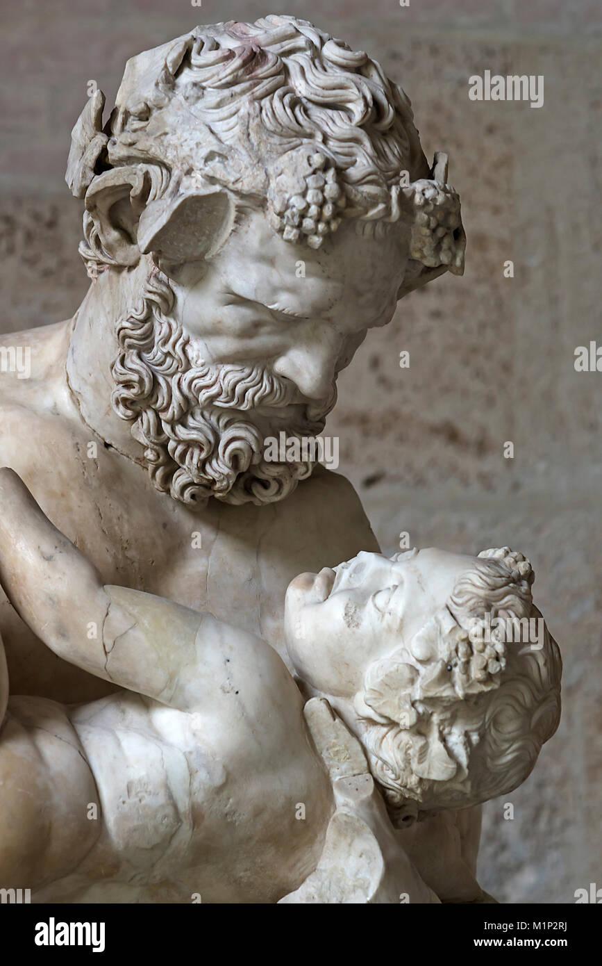 Silen paternal con el poco de Dyonisos,copia romana de una estatua de Lysipp,alrededor de 310 BC,glyptotheque,Munich,Alta Imagen De Stock