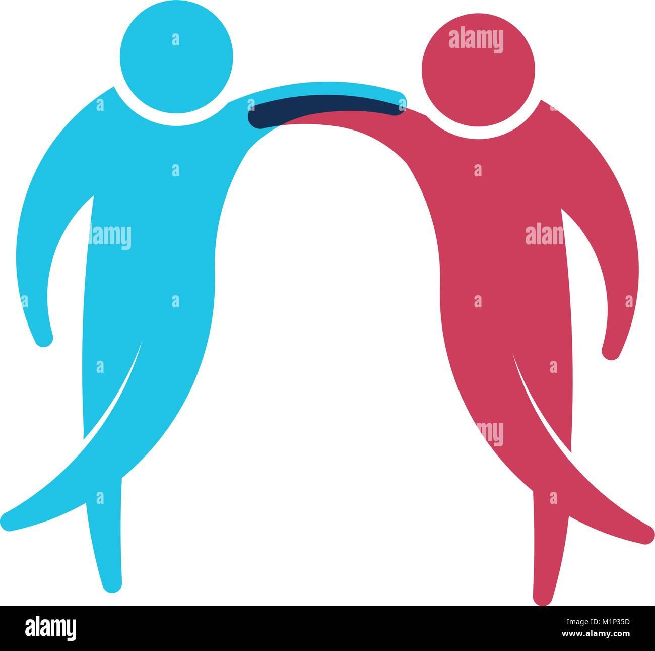 Gente Amigos Holding. Ilustración vectorial Imagen De Stock