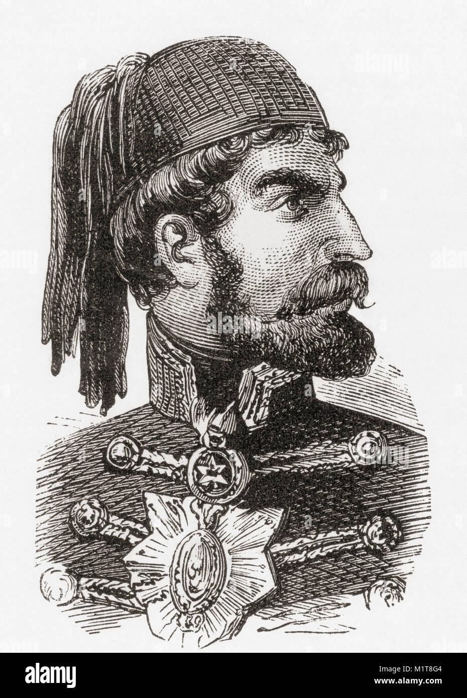 Omar Pasha Latas, 1806-1871. El mariscal de campo y gobernador otomano. De Ward y bloquear el ilustrado de la historia del mundo, publicado c.1882. Foto de stock