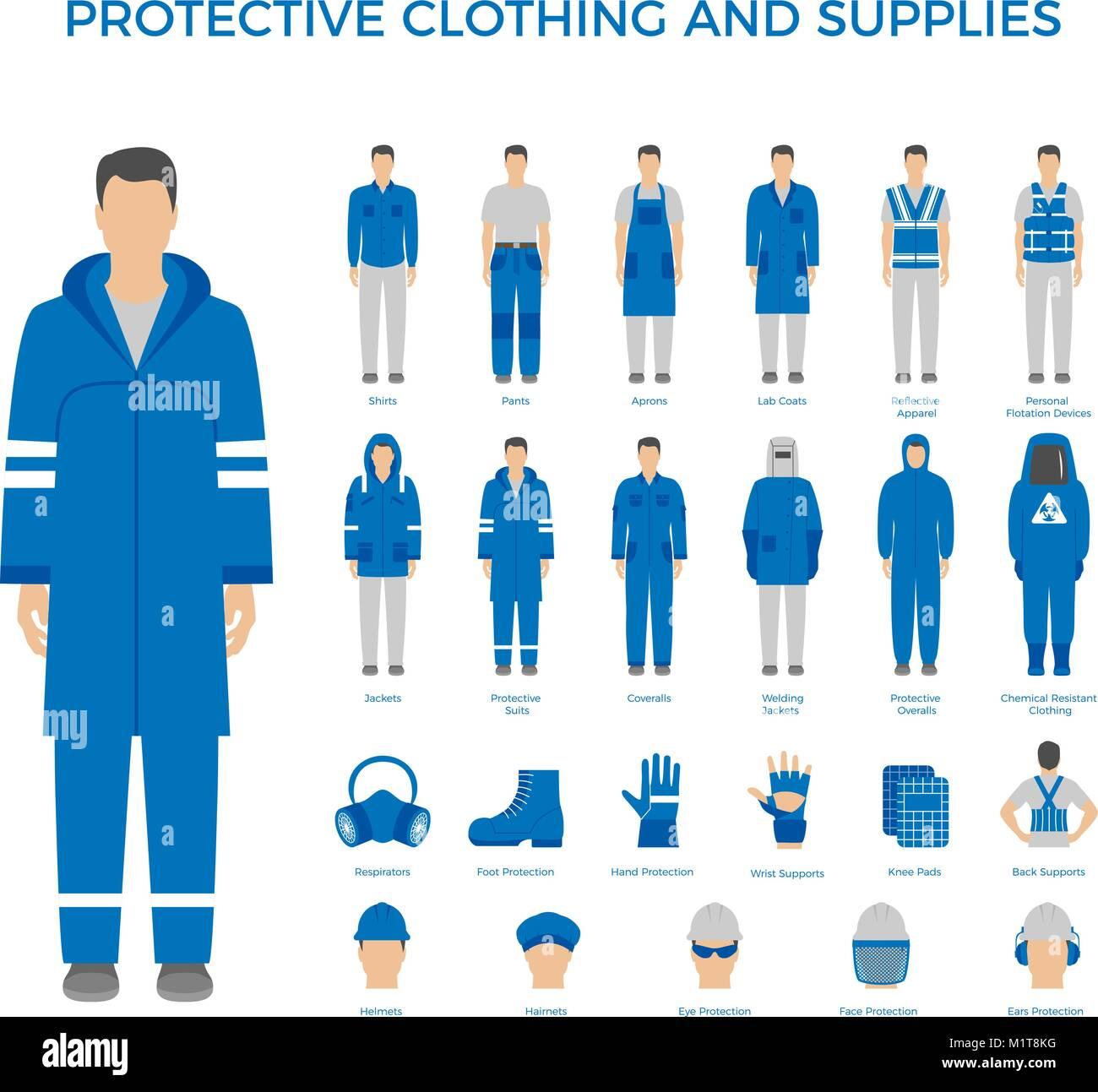 Vector conjunto de hombres en ropa de protección y los iconos de los equipos de seguridad. Iconos plana para Imagen De Stock