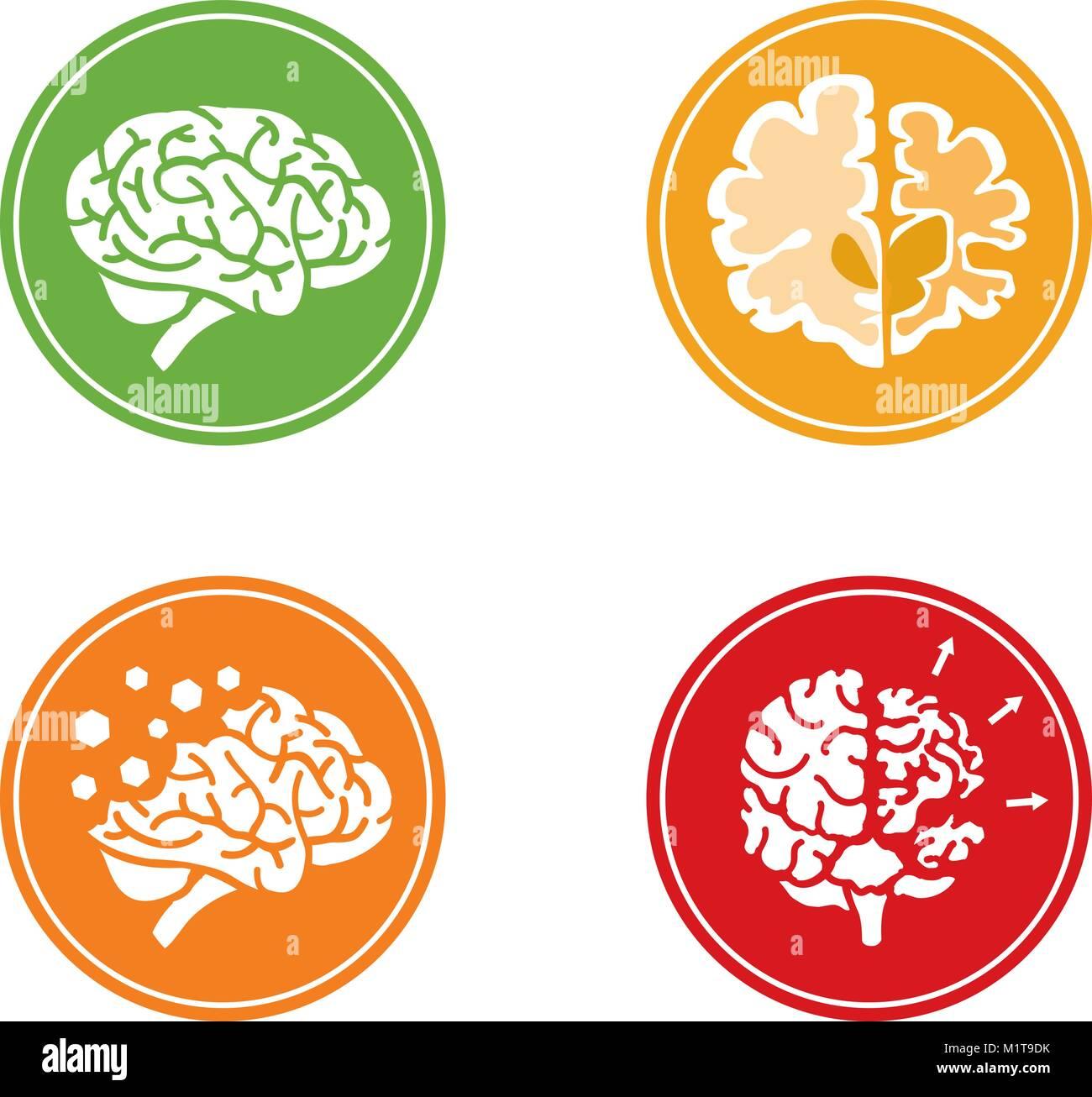 Conjunto de iconos vectoriales planas con el cerebro humano y el concepto de demencia y otros problemas de salud Imagen De Stock