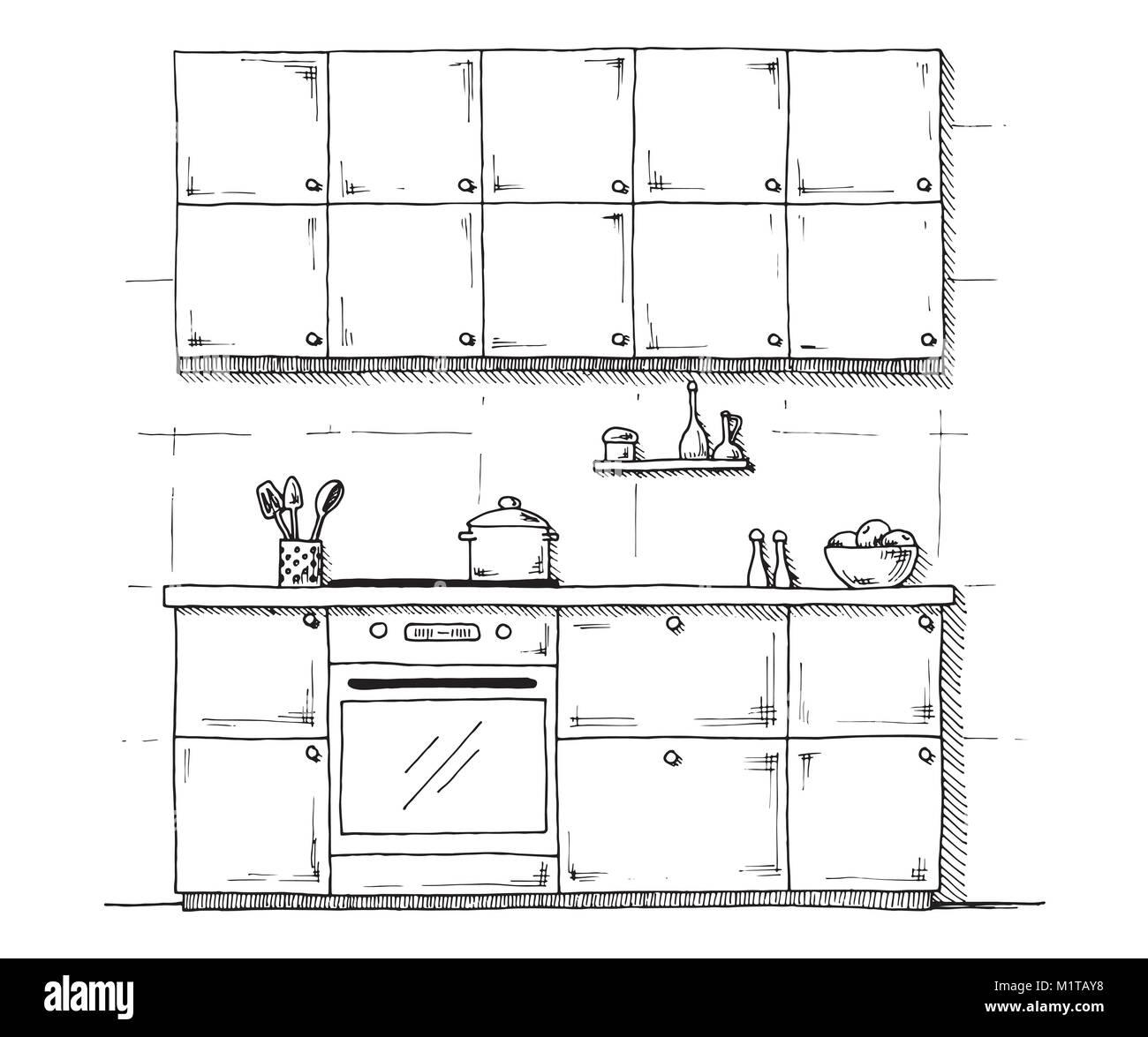 Croquis de muebles de cocina sobre un fondo blanco. Ilustración ...