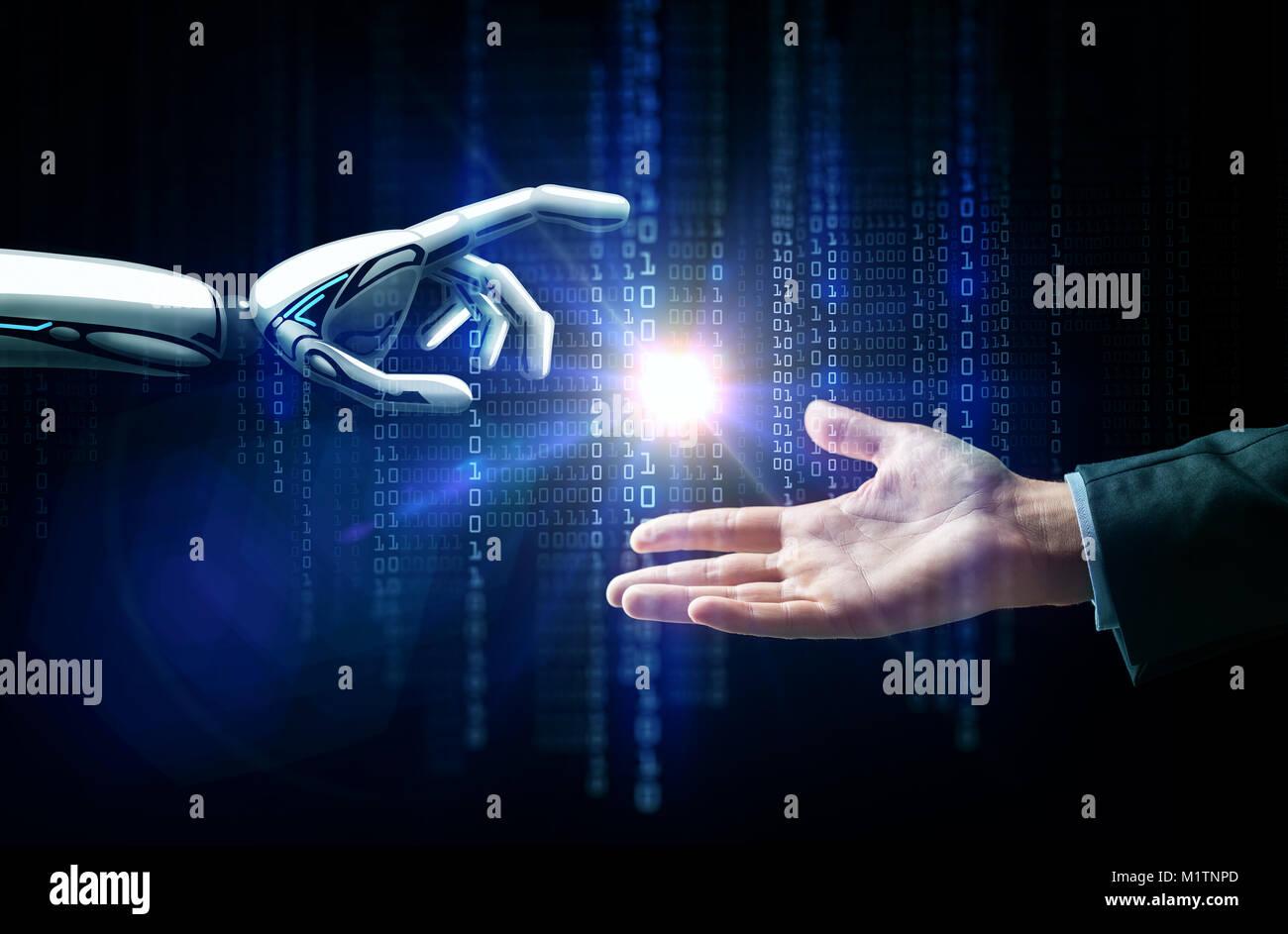 El robot y la mano humana, la luz del flash y el código binario Imagen De Stock