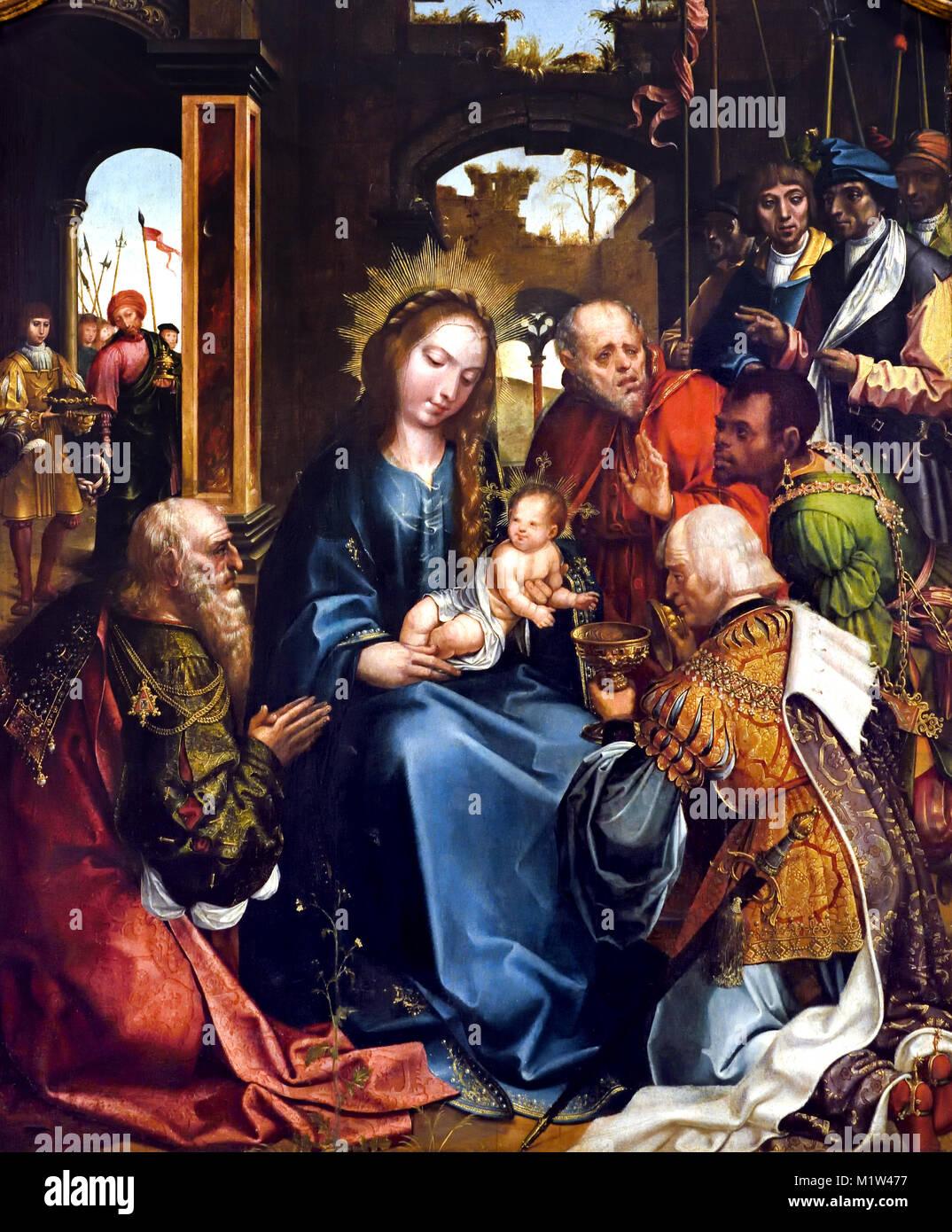 La adoración de los Reyes Magos - Retablo de Paraiso 1523 Gregório Lopes (1490-1550) 16th-century de Portugal, Imagen De Stock