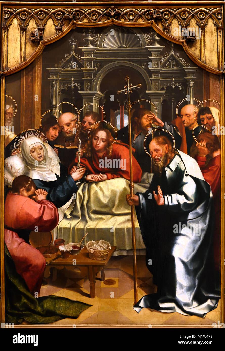 Dormición de la Virgen -Retablo de Paraiso 1523 Gregório Lopes (1490-1550) 16th-century de Portugal, portugués Imagen De Stock