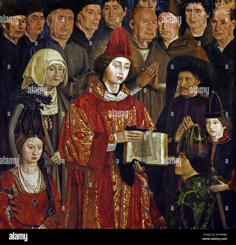 Los paneles de San Vicente - Adoración de los paneles de San Vicente 1450 Nuno Gonçalves, que estuvo activo Imagen De Stock